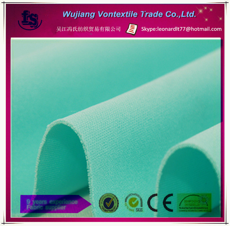 Wu jiang manufacture supply soft air layer knitted fabric /custom color for luggage,dress,fashion cloth,etc