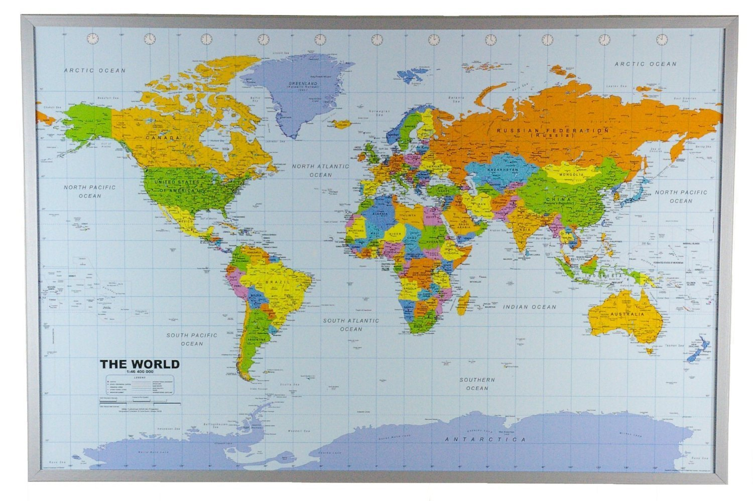 "Political World Map on Cork Pinboard 24"" x 36"""