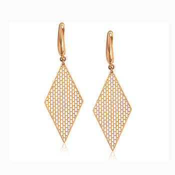 97640 xuping jewelry fashion rhombic shaped drop earrings vintage elegant 18k gold plated lady earrings