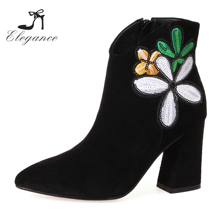 2017 China Customized Design Your Own Motorcycle Black Suede Floral High Heels Ankle Short Embroidered Boots