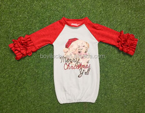 Wholesale baby girls ruffle sleeve christmas raglan shirt red icing raglan tshirt