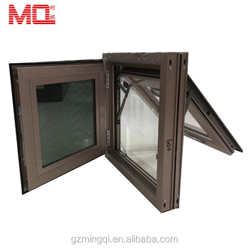 Rose gold color aluminium alloy awning glass window with mosquito net