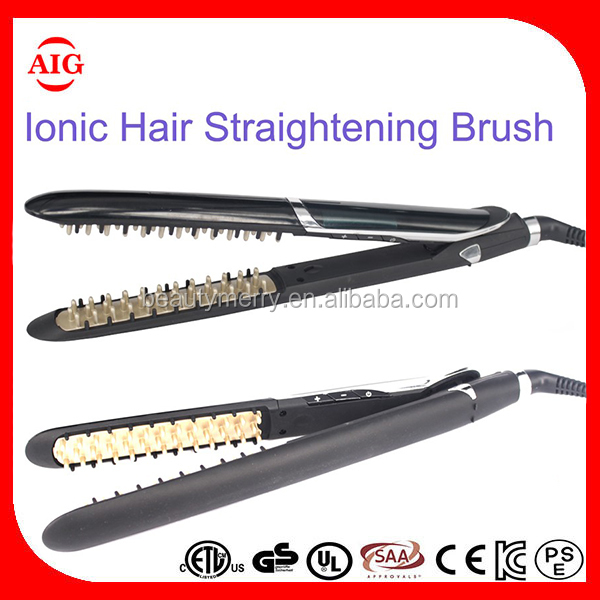 Manufacturer Private Label Hair Straightener With Brush Negative Lons Marcel Waver Fast Hair Straightener Brush