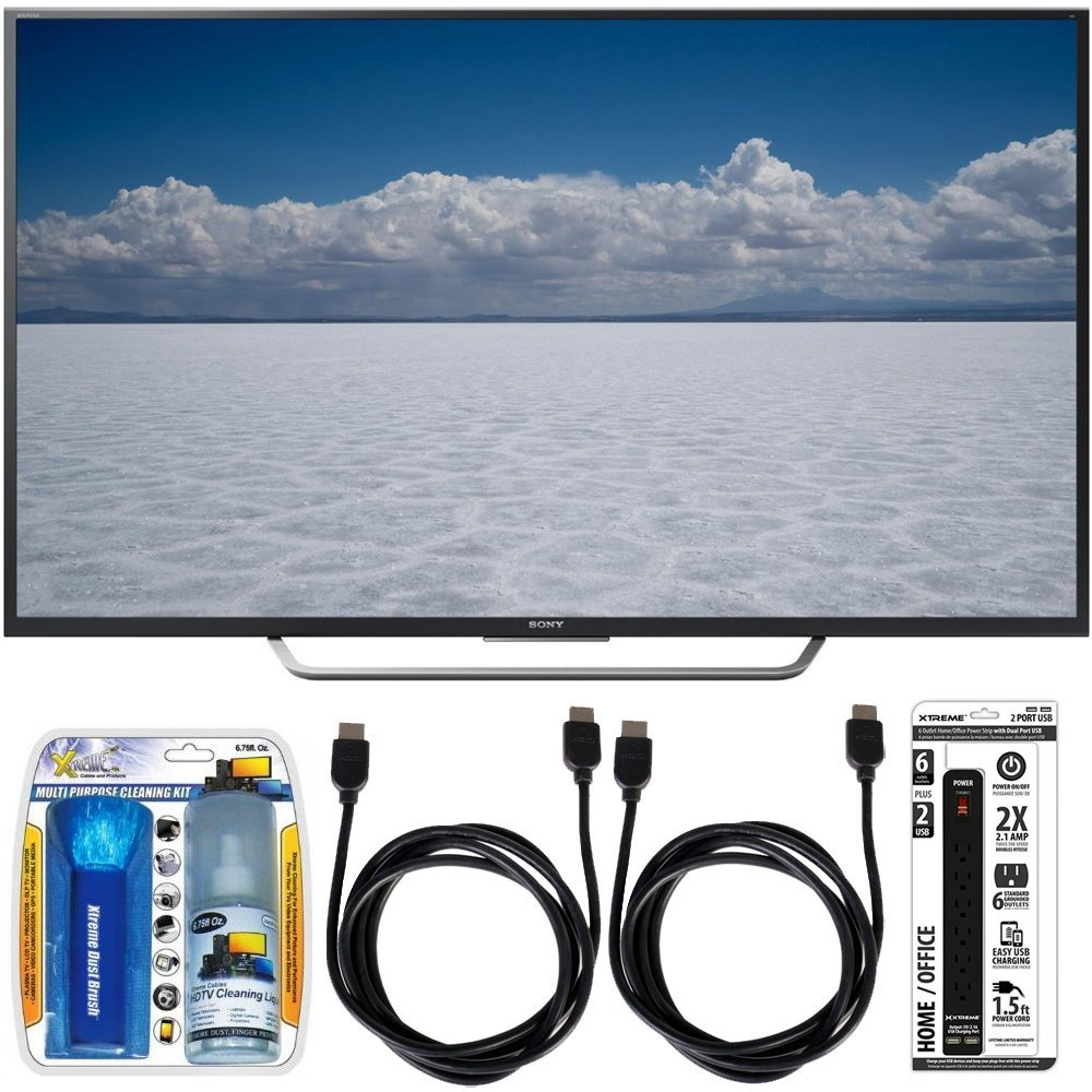 """Sony XBR-65X750D - 65"""" Class 4K Ultra HD TV w/ Essential Accessory Bundle includes TV, Screen Cleaning Kit, 6 Outlet Power Strip with Dual USB Ports and 2 HDMI Cables"""