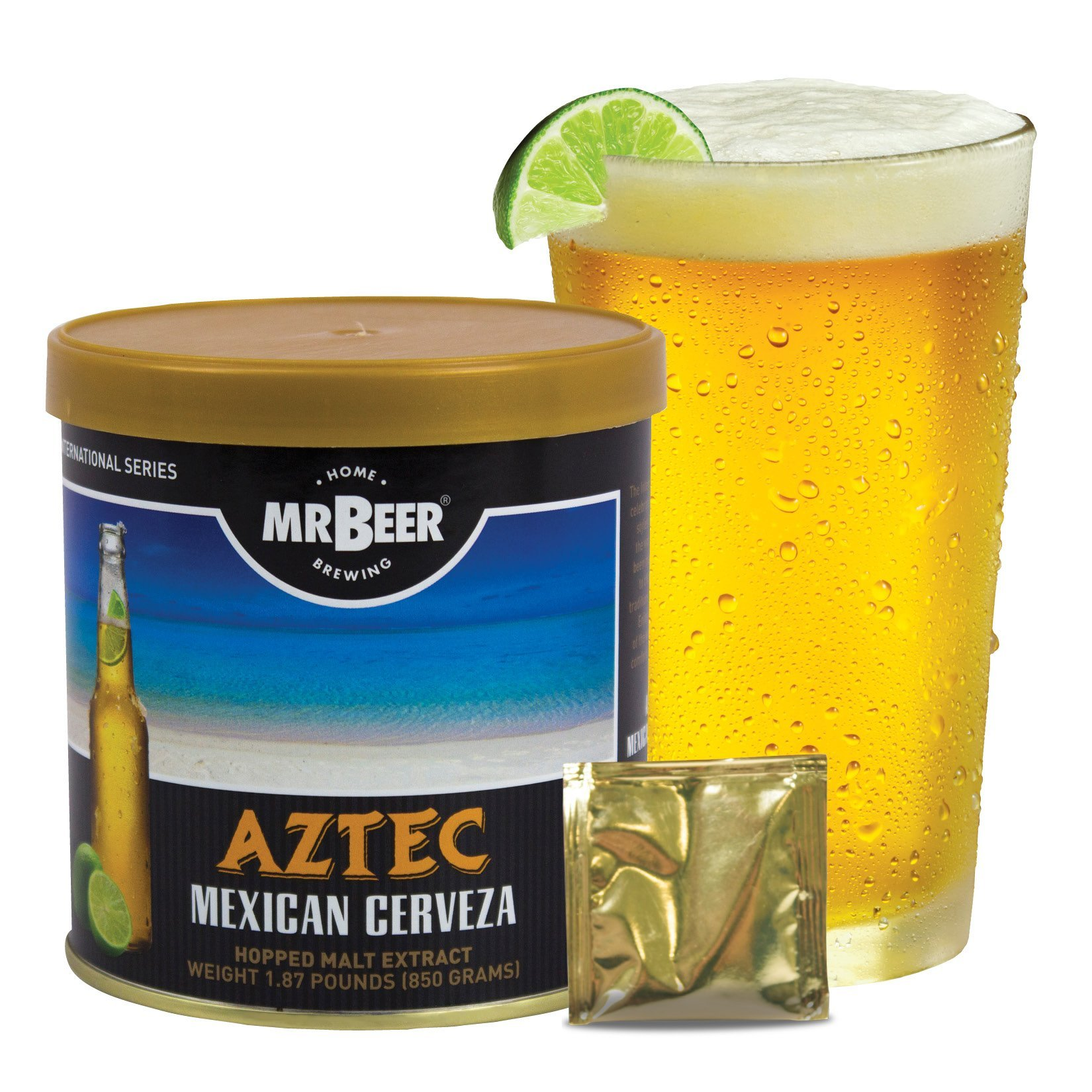 Mr. Beer Aztec Mexican Cerveza 2 Gallon Homebrewing Craft Beer Making Refill Kit with Sanitizer, Yeast and All Grain Brewing Extract Comprised of the Highest Quality Barley and Hops