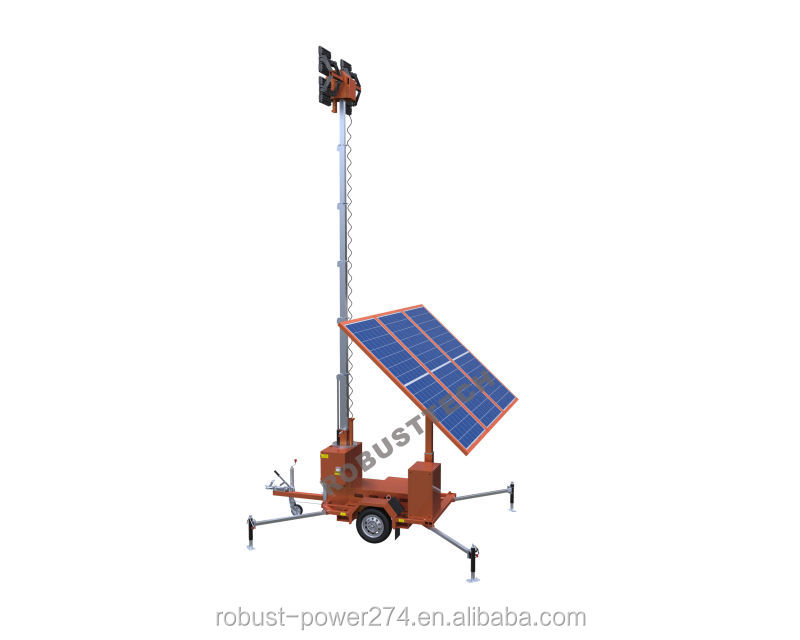 Solar led lighting rechargeable battery Mobile light tower trailer hydraulic telescopic high mast panel street light