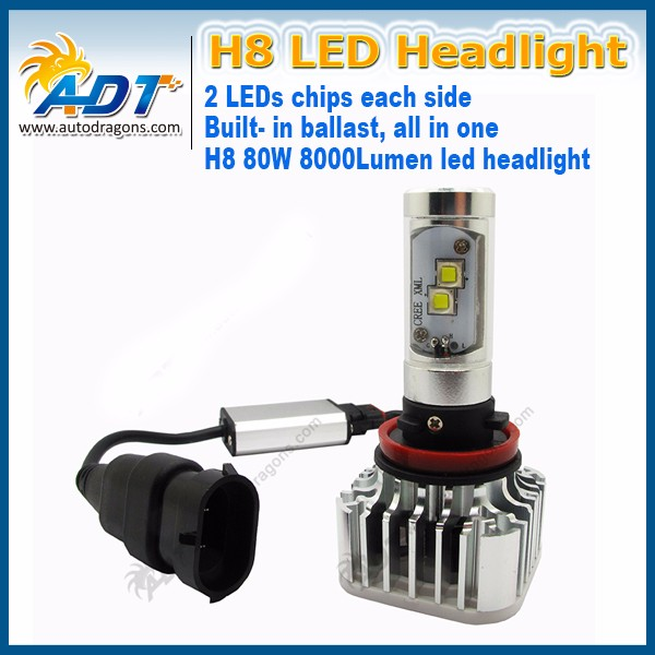 Super brightness 80W 9600LM H8 H11 Car LED headlight All in one led headlight Canbus error free
