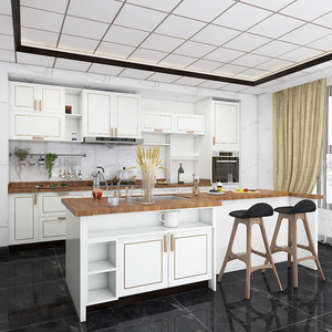 Luxury white lacquer modern style Italian kitchen cabinet