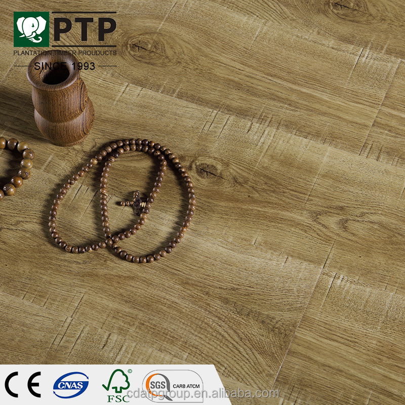 China NO.104 12mm handscraped mdf laminate in-door registered embossed laminate flooring
