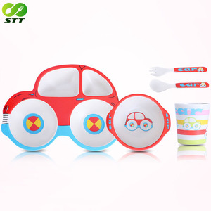 Fashion style bamboo fiber melamine children dinnerware sets car shape decal plate