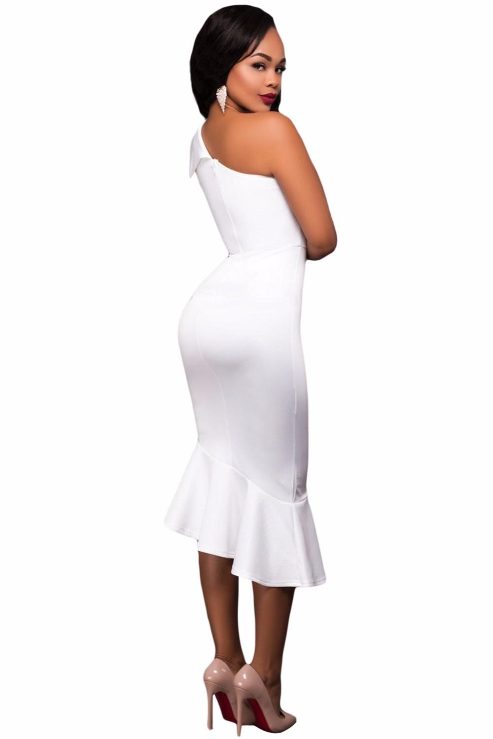 Charming Design Reife Frauen Party Tragen One Sleeve Midi Bodycon ...