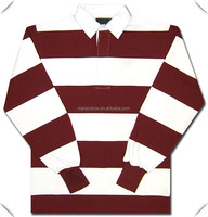 classic design Stripes Long Sleeve POLO Rugby Shirts for men with OEM logo embroidery or applaque