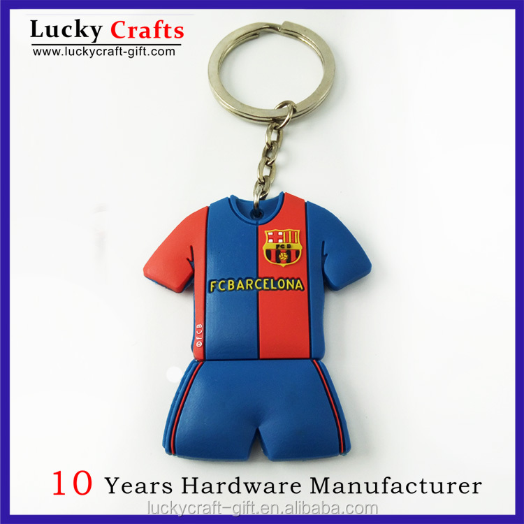 2D custom soft PVC football teams shirt keychain with keyrings