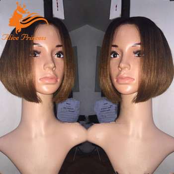 Honey Blonde 8inch Bob Wig Silky Straight Middle Part Short Peruvian
