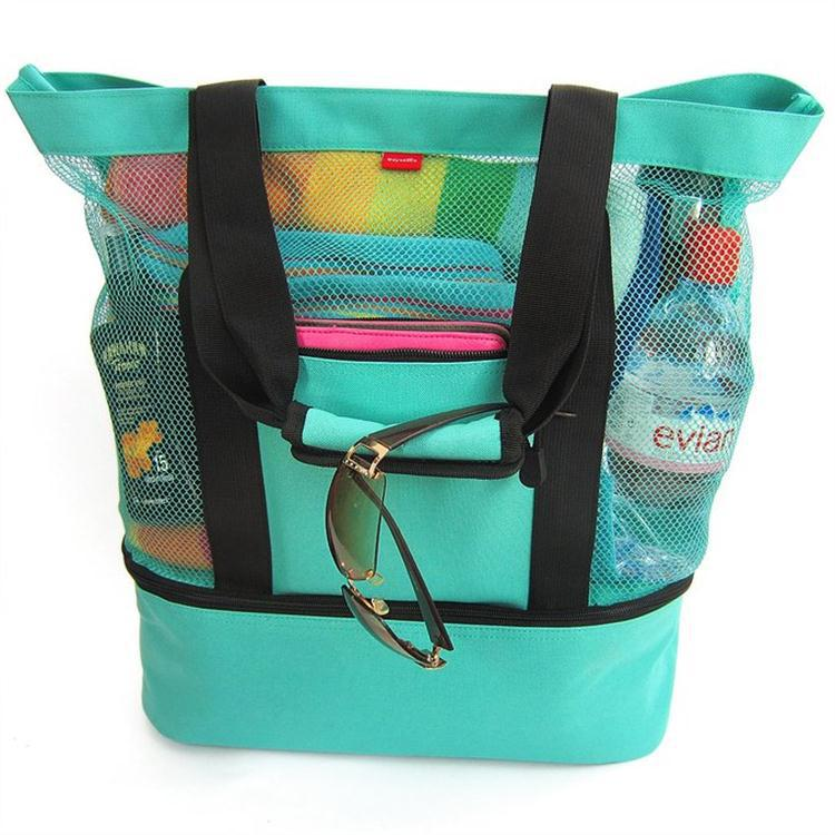 wholesale nylon mesh 600D polyester beach picnic cooler tote bag with cooler compartment