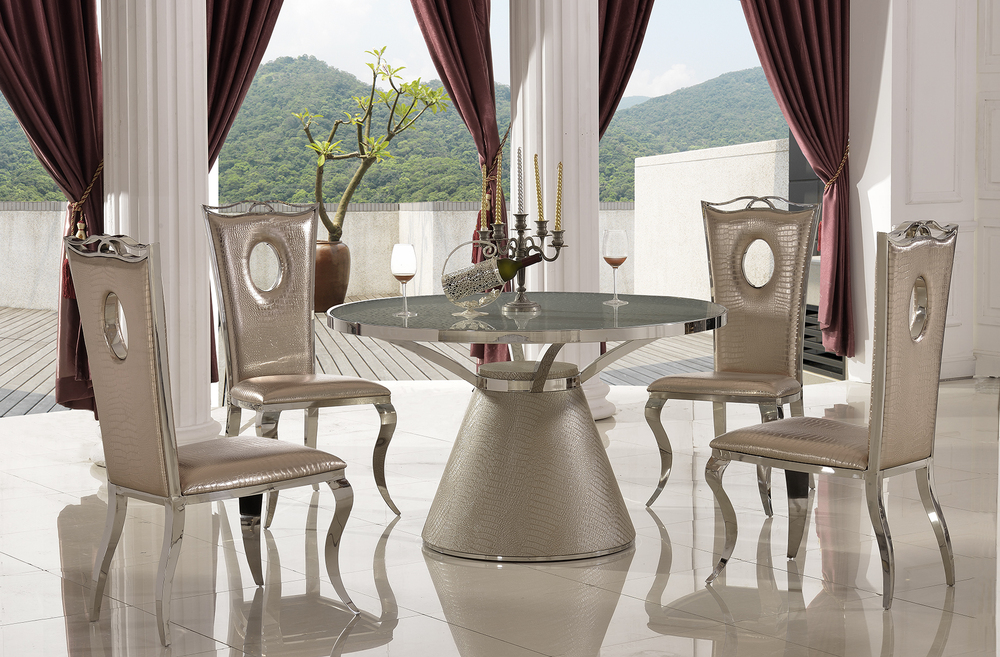 TH379 2015 Modern Design Stainless Steel Base Round Glass Top Dining Table