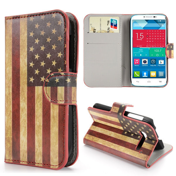 Retro USA Flag Pattern Wallet Style PU Leather Case for Alcatel One Touch Pop C5 Case OT-5036A
