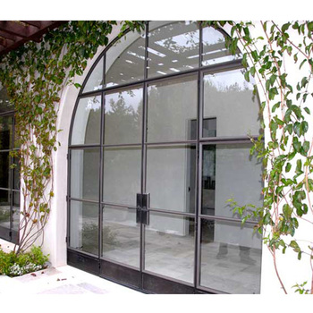 Customized Simple Design Arched Steel Frame French Doors With Side Panels
