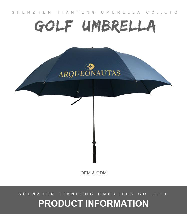 27inch manual open full fiberglass golf umbrella with logo printing