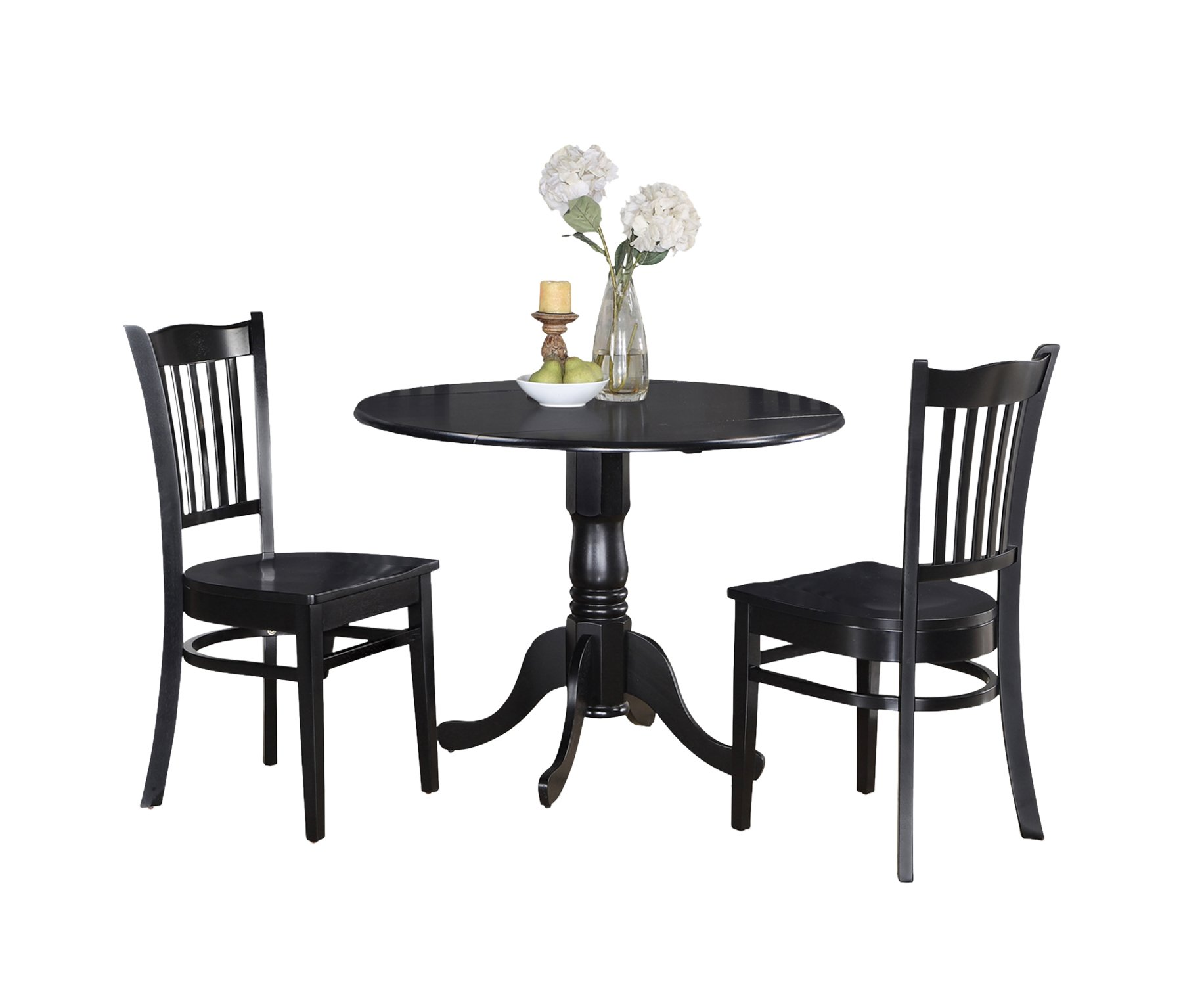 East West Furniture DLGR3-BLK-W 3-Piece Kitchen Table and Chairs Set, Black Finish