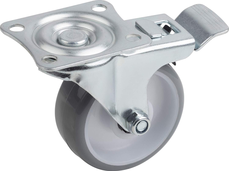 4 Pcs 2/'/'Swivel Caster PU Wheels with Brake Lock Universal Replacement