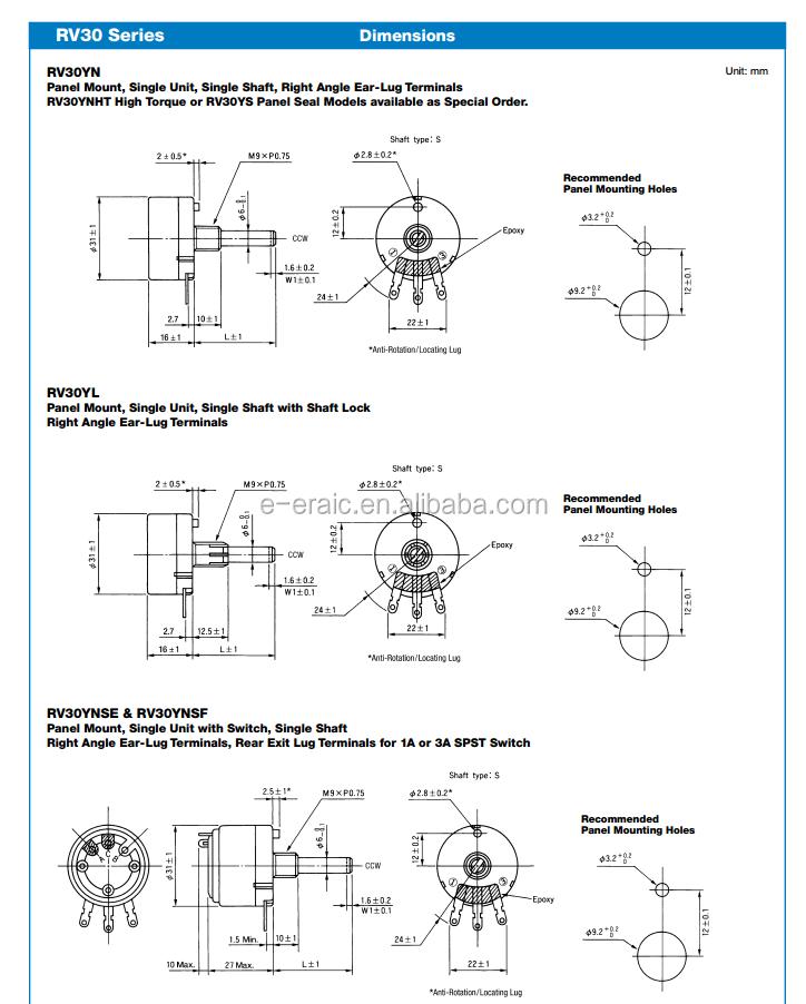 Rv30yn 20s B204 200k Carbon Single Turn Types Of