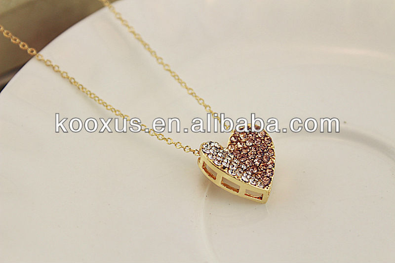 Fashion Heart Crystal Necklace with long chain