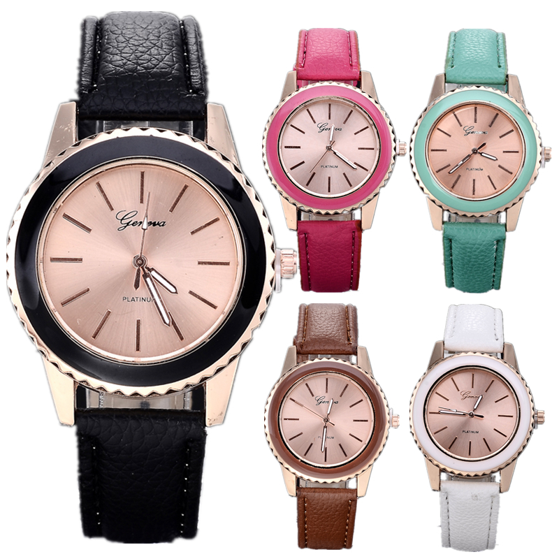 Geneva New Fashion  Luxurious leather watches women dress  Analog wristwatches men Casual watch 2014 Ladies Unisex Quartz watch