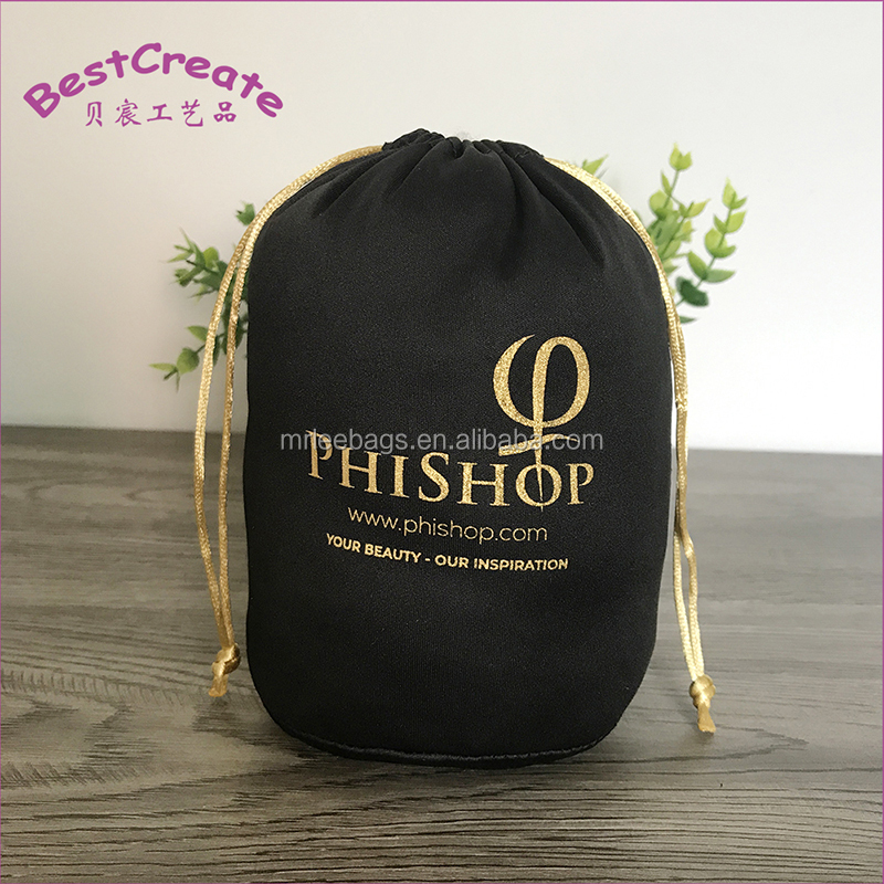 Customized black round bottom microfibre water bottle bags with gold logo