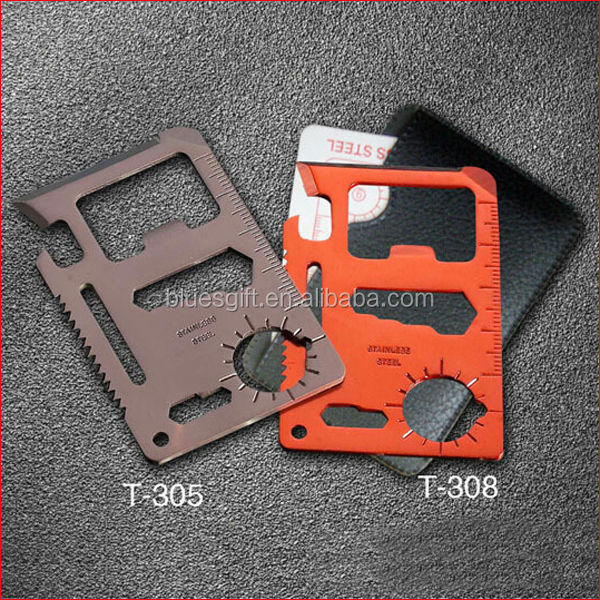 2014 colorful Stainless Steel Outdoor Tool Set Pocket Survival Card with 11 function