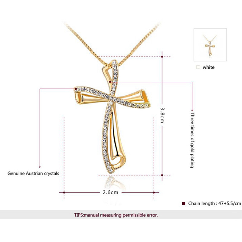 China Wholesale ROXI New Design Eleglant Cross Shape Gold Necklace