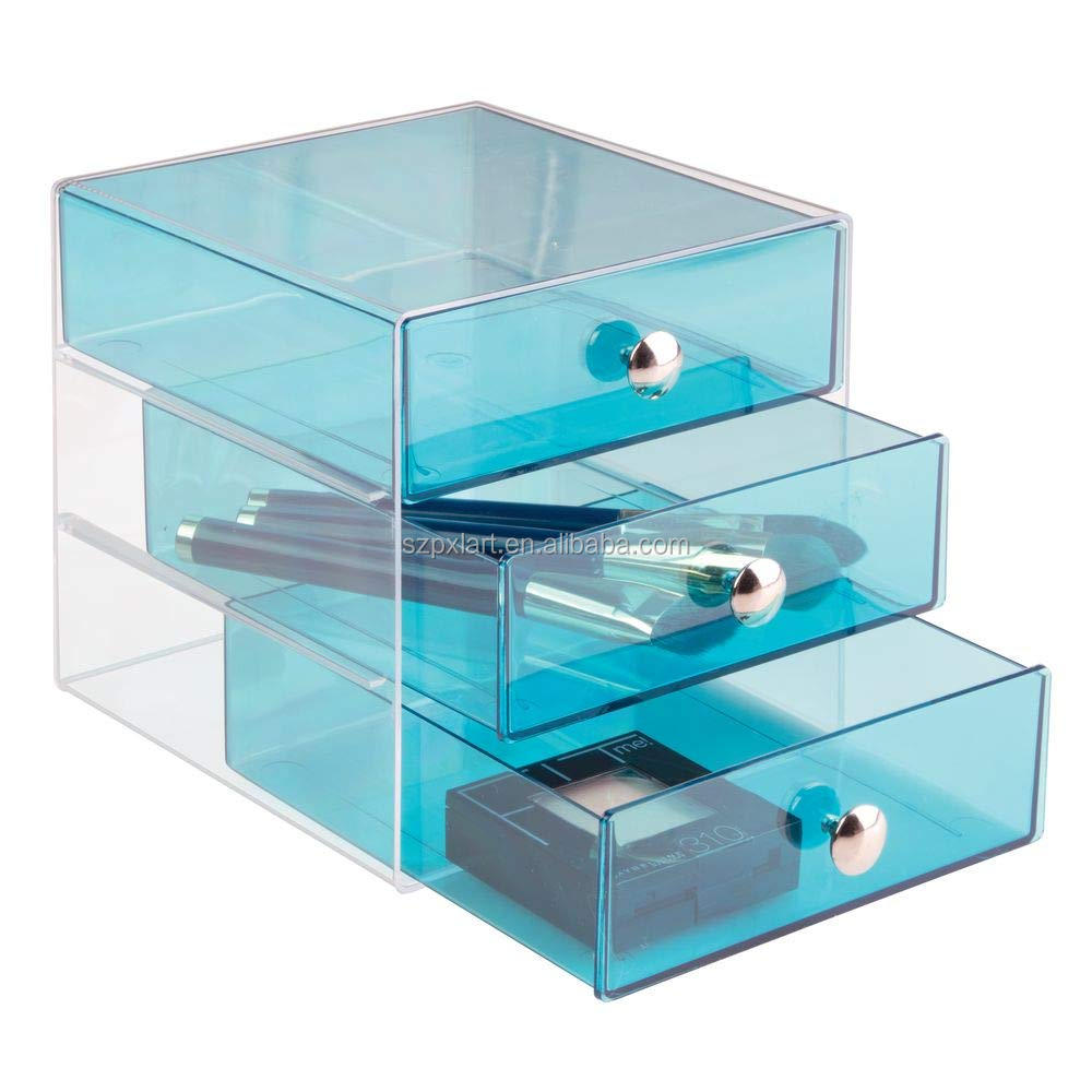 high quality 3 Drawer Acrylic Makeup Storage Boxes cosmetic display stand acrylic makeup organizer