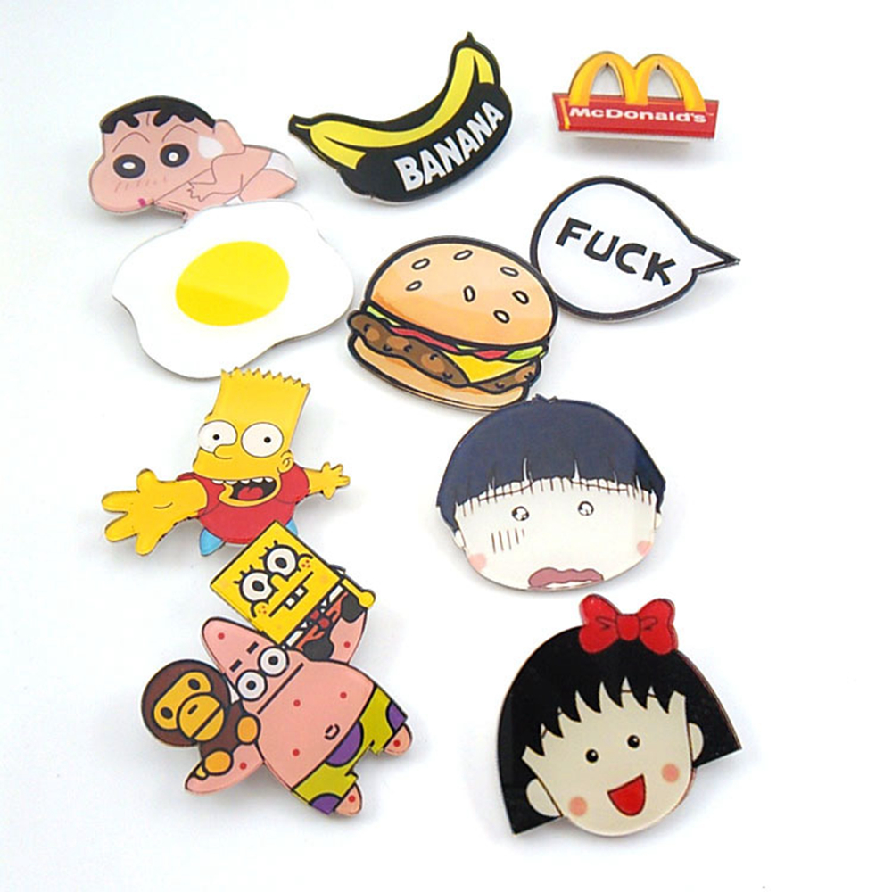 LOW MOQ fashion cheap acrylic kids charm badge brooch custom