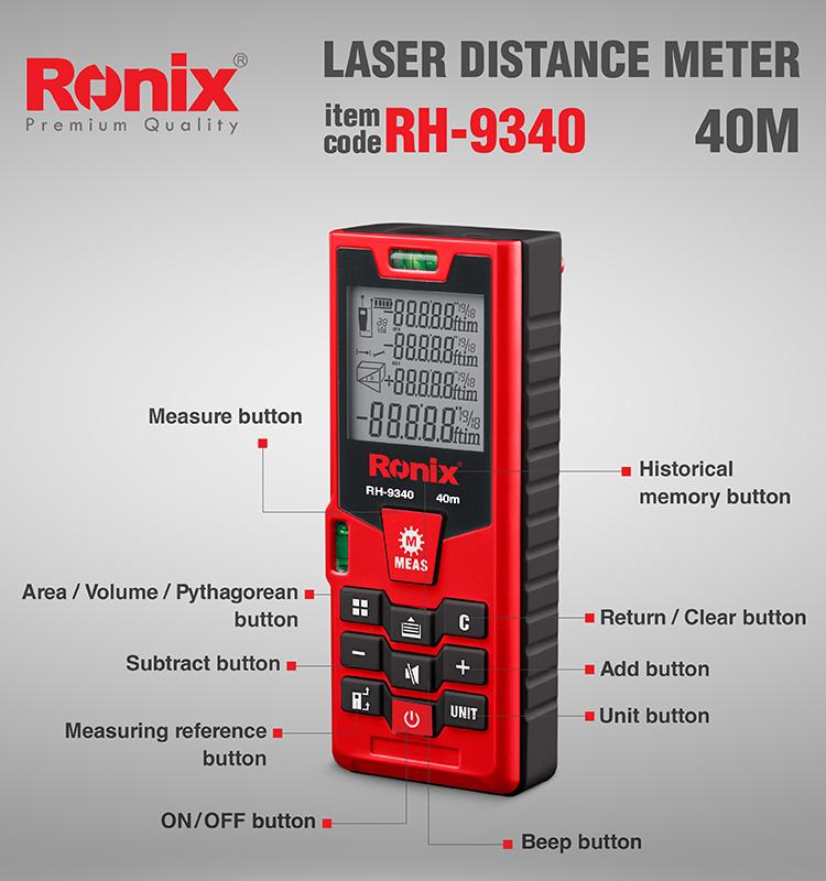 Ronix New Design High Accuracy Measurement Laser Meter 40M Laser Meter RH-9340