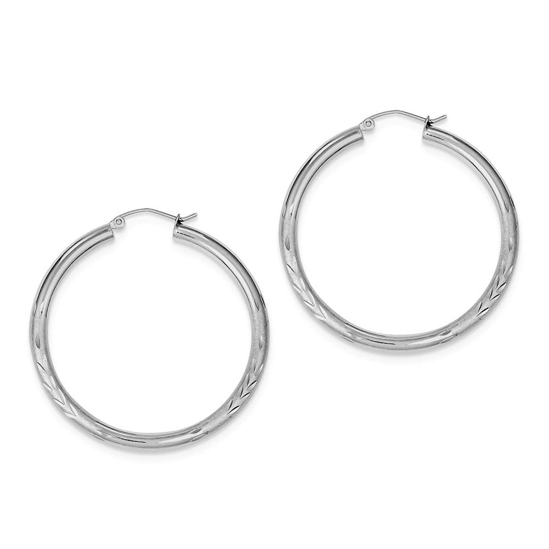 Best Designer Jewelry Sterling Silver Rhodium-plated 3.00mm Satin Diamond-cut Hoop Earrings
