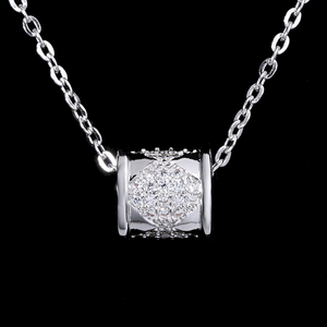 Small Size AAA Cubic Zirconia 925 Sterling Silver Women Necklace, Gold Plating Charm Pendant Necklace