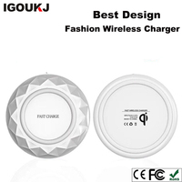Hot sale new design diamond style 10W fast charging pad for iphone X for samsung qi wireless charger