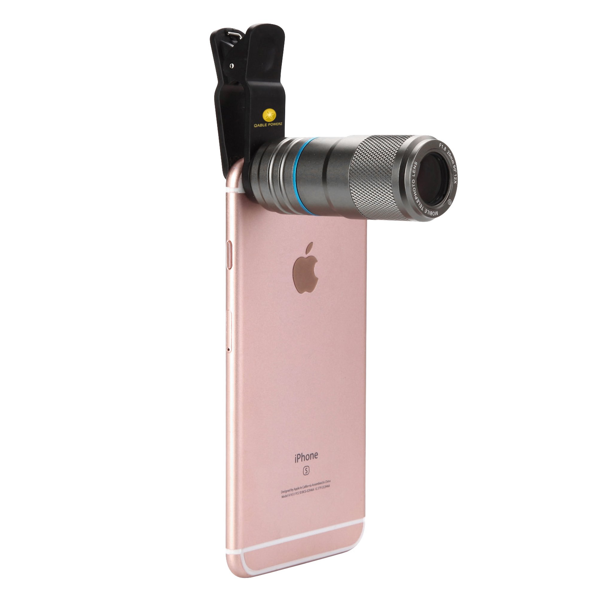 iPhone Clip-on Camera Lens, 12X Zoom Universal Camera Lens Clip-on Telephoto Lens w/ 90-Degree Wide Angle Full Metal Body for Smartphones (Gray)