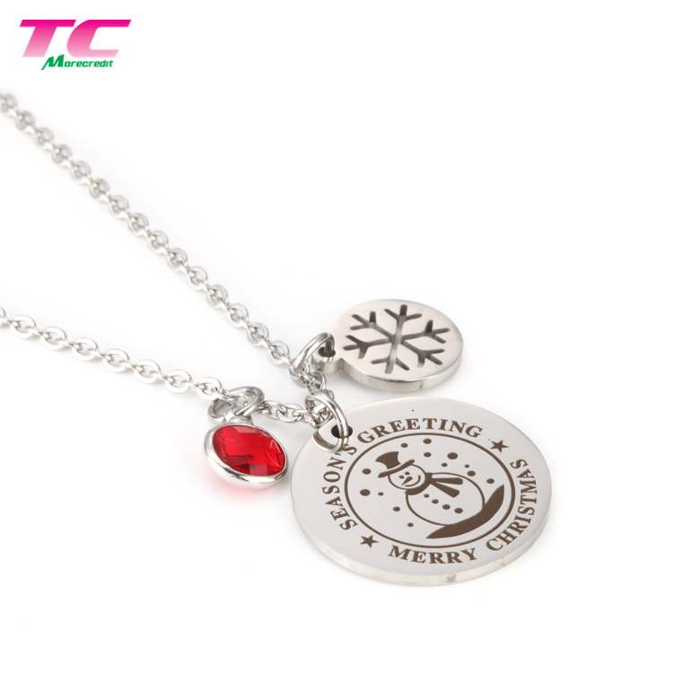 Christmas Theme Stainless Steel Bracelet Necklaces Metal Craft Souvenir Jewelry Metal Tag