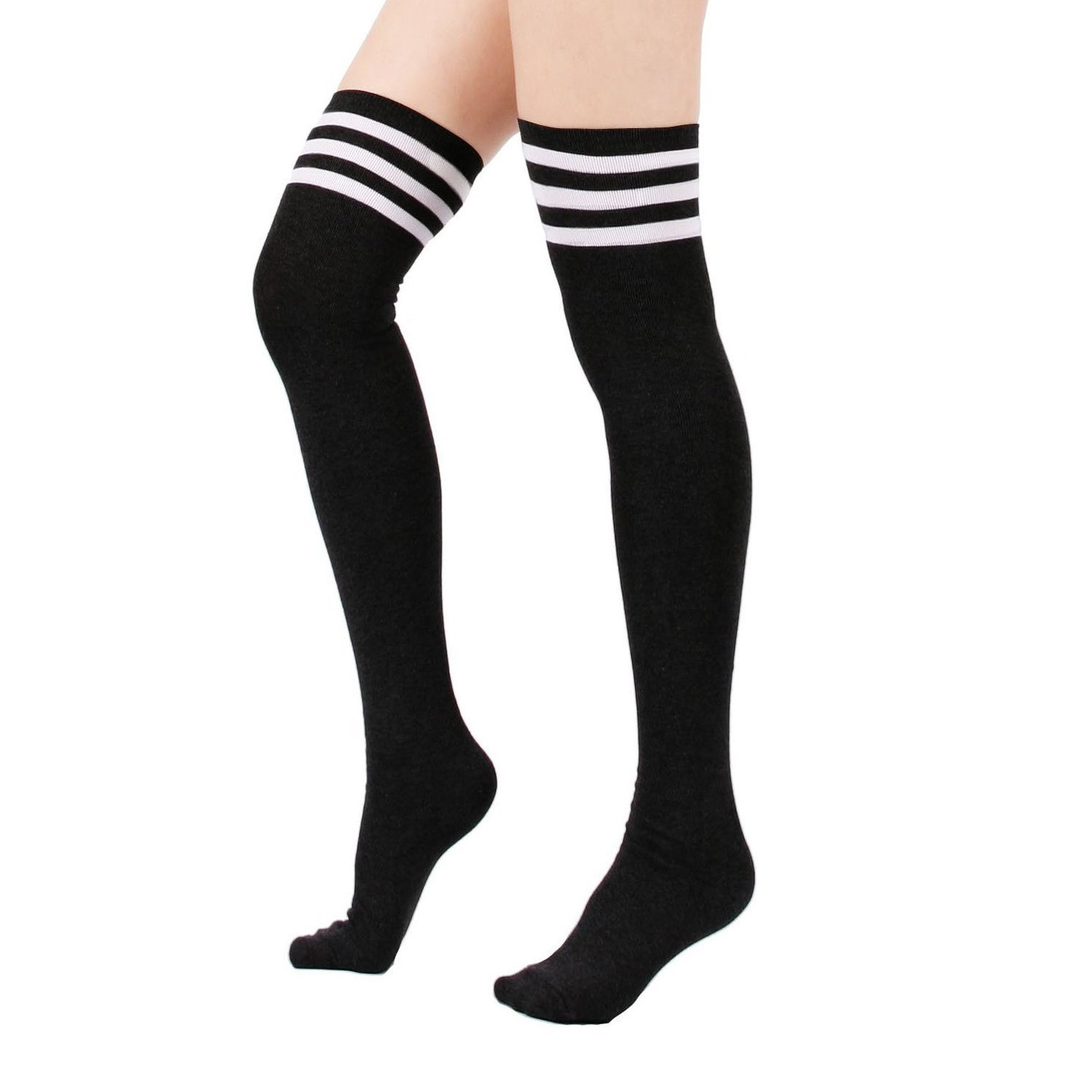 f1528b38a03b6 Get Quotations · Zando Women's Cotton Athlete Triple Stripe Tights Over The Knee  Thigh High Socks Casual Above Knee