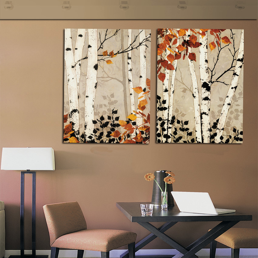 Modern Home Decor Abstract Tree Painting Birch Trees Paintings Pictures Black Brown Art Canvas To Room Walls Decoration Cheap