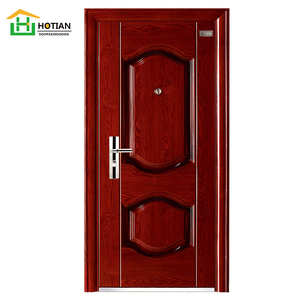 Simple decorative security latest design single steel safety doors wrought iron entrance metal door