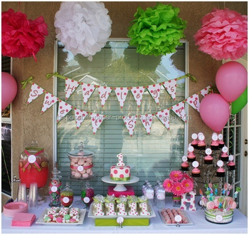 Party Idea For A Girls 1st Birthday Balloons Tissue Pom Poms Decorations Kids