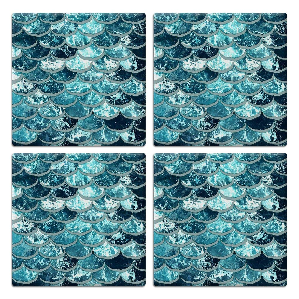 CARIBOU SQUARE Ceramic Stone Coasters 4pcs Set, Mug Coffee Cup Place Mat Home Coasters for Hot & Cold Drinks, Mermaid Scales Blue Wave