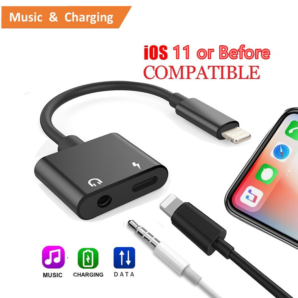 iPhone 7/ 8/ X Adapter and Splitter, ANLOER 2 in 1 Aux Headphone Jack Audio & Charge Cable Adapter, 3.5mm Lightning Adapter for iPhone7/7Plus/8/8Plus/X, Support iOS 11 and Before (Black)