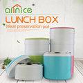 Popular 2/3 layer plastic and stainless steel vacuum lunch tiffin pot/lunch box with handle