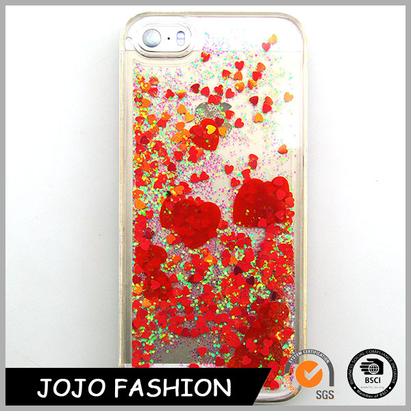 Bling Cell Transparent Shinning Moving Heart Phone Case