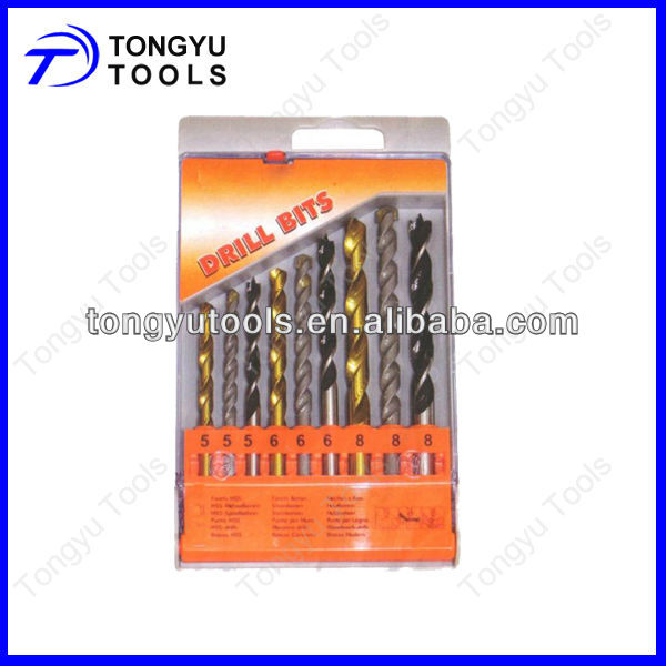 9 pcs combination drill bit set in blister