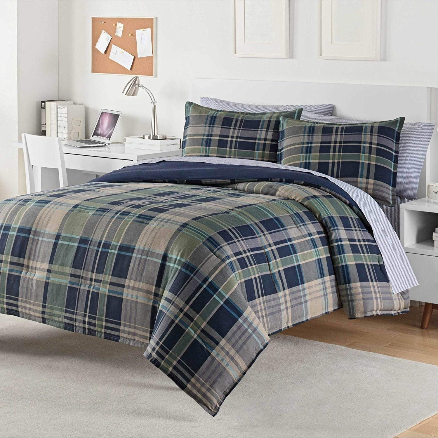 3 Piece Blue Green Grey Plaid Pattern Comforter King Set, Elegant Luxurious Tartan Checkered Design, Solid Reversible Bedding, Classic Mid-Century Style, Super Soft & Cozy, Cotton, For Unisex