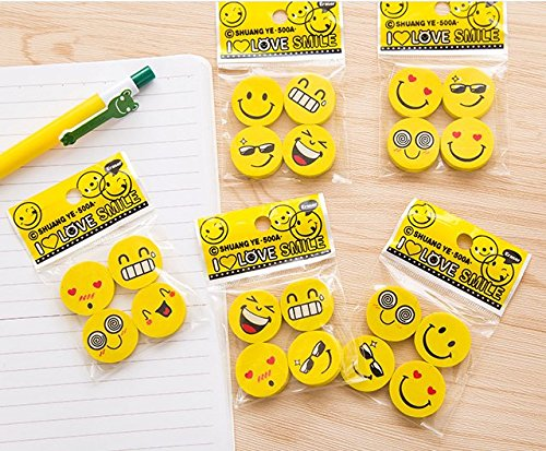 ASIBT Emoji Erasers | 120 Pack | Yellow Round Emoticon Faces / Expressions | 30 Packs of 4 assorted designs